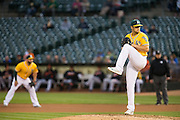 Oakland Athletics starting pitcher Kendall Graveman (49) pitches against the Baltimore Orioles at Oakland Coliseum in Oakland, Calif. on August 8, 2016. (Stan Olszewski/Special to S.F. Examiner)