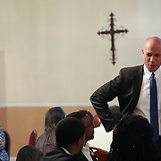 COLUMBIA, SC - JUNE 22:  Senator Corey Booker addresses a crowd at a faith breakfast at Grace Christian Ministry  in Columbia, SC on June, 22 2019. Many of the Democratic candidates running for president are in Columbia to make appearances at the South Carolina Democratic Party Convention and the Planned Parenthood Election Forum on June 22.(Logan Cyrus for AFP)