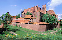 Europe´s largest gothic castle (13th century), residence of Teutonic Knights´ grand master. Malbork. Pomerania. Poland