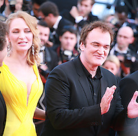 Quentin Tarantino, Uma Thurman,at Sils Maria gala screening red carpet at the 67th Cannes Film Festival France. Friday 23rd May 2014 in Cannes Film Festival, France.