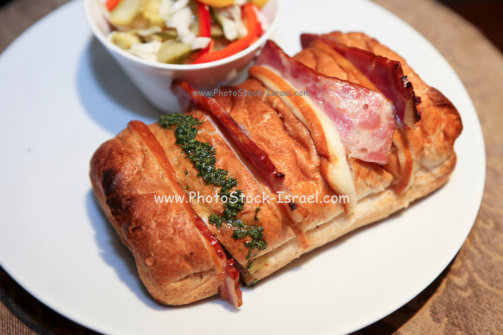 Grilled ham and cheese roll sandwich