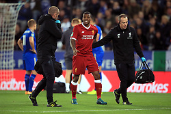 """Liverpool's Georginio Wijnaldum is helped off the pitch after suffering an injury during the Carabao Cup, third round match at the King Power Stadium, Leicester. PRESS ASSOCIATION Photo. Picture date: Tuesday September 19, 2017. See PA story SOCCER Leicester. Photo credit should read: Mike Egerton/PA Wire. RESTRICTIONS: EDITORIAL USE ONLY No use with unauthorised audio, video, data, fixture lists, club/league logos or """"live"""" services. Online in-match use limited to 75 images, no video emulation. No use in betting, games or single club/league/player publications."""