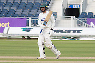50 - Hassan Azad acknowledges the crowd on reaching 50 during the Specsavers County Champ Div 2 match between Durham County Cricket Club and Leicestershire County Cricket Club at the Emirates Durham ICG Ground, Chester-le-Street, United Kingdom on 19 August 2019.