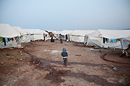 Atmeh refugee camp, for internally displaced Syrians. Around 12,000 IDP now live in the camp. December 2nd 2012, Atmeh, Syria.