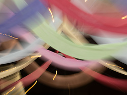 United States, Washington, Mt. Vernon, colorful banners (blurred motion)
