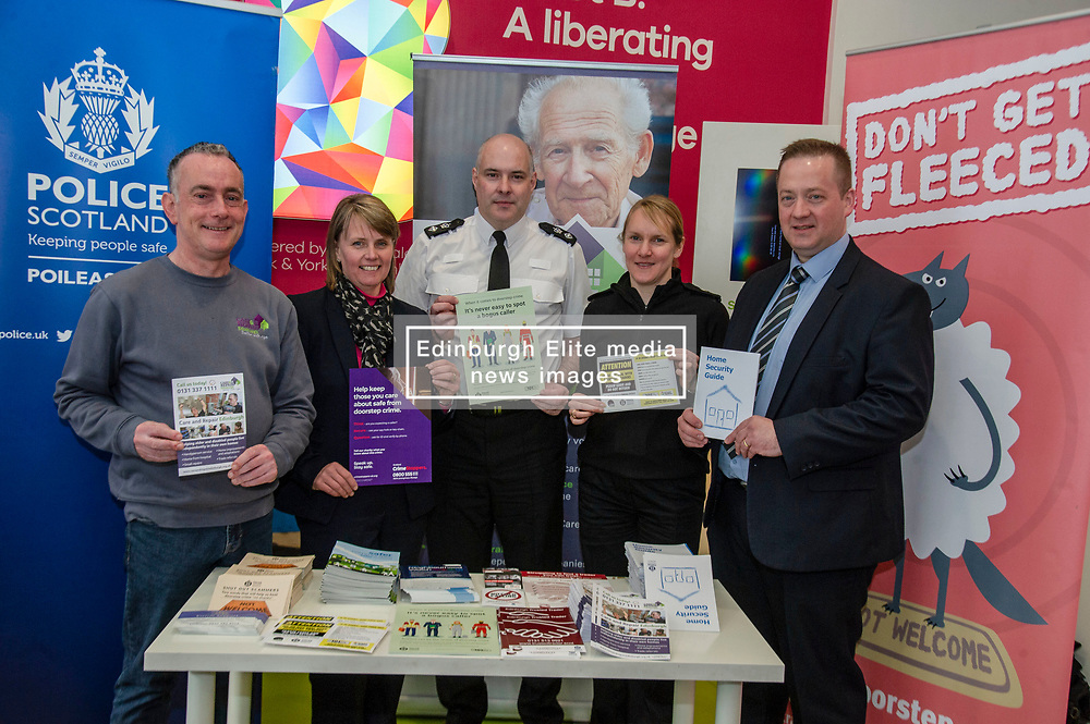 Pictured: NEIL LOGAN, CARE AND REPAIR EDINBURGH, LORRAINE JARVIE, CRIMESTOPPERS,  CHIEF SUPERINTENDANT, JOHN MCKENZIE SAFER COMMUNITIES SPECIALIST CRIME DIVISION, INSPECTOR PHILLIPA BOYD, DC GARY MCLEAN, ECONOMIC CRIME UNIT<br /><br />Police Scotland is warning that anyone can be a victim of doorstep crime after householders lost hundreds of thousands of pounds to scammers. <br /><br />The Shut Out Scammers campaign was launched today at the Clydesdale Bank, George Street, Edinburgh.  Chief Superintendent John McKenzie was joined by colleagues from Police Scotland, Clydesdale Bank, Care and Repair Edinburgh, Crime Stoppers and Trading Standards.<br /><br />Ger Harley | EEm 14 APRIL 2019
