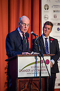 Jack Clark Convenor of SBCC, announcing the winner of the Outstanding Achievement Award. <br /> <br /> The 2015 Scottish Border Business Awards, held at Springwood Hall, Kelso. The awards were run by the Scottish Borders Chambers of Commerce, with guest speaker Keith Brown, MSP. The SBCC chairman Jack Clark and the presenter Fiona Armstrong co hosted the event.