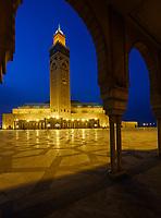 CASABLANCA, MOROCCO - CIRCA APRIL 2017: Mosque Hassan II in Casablanca at Night.