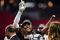 UCF Knights linebacker Shaquem Griffin celebrates after the second half of the Chick-fil-A Peach Bowl NCAA college football game at the Mercedes-Benz Stadium in Atlanta, January 1, 2018. UCF won 34-27 to go undefeated for the season. (David Tulis via Abell Images for Chick-fil-A Peach Bowl)