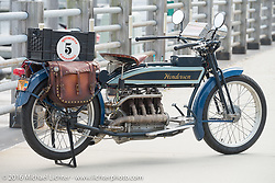 Jeff Tiernan's Mark Hill restored 4-cylinder 1913 Henderson class-2 bike before the start of the Motorcycle Cannonball Race of the Century Run. Atlantic City, NJ, USA. September 9, 2016. Photography ©2016 Michael Lichter.