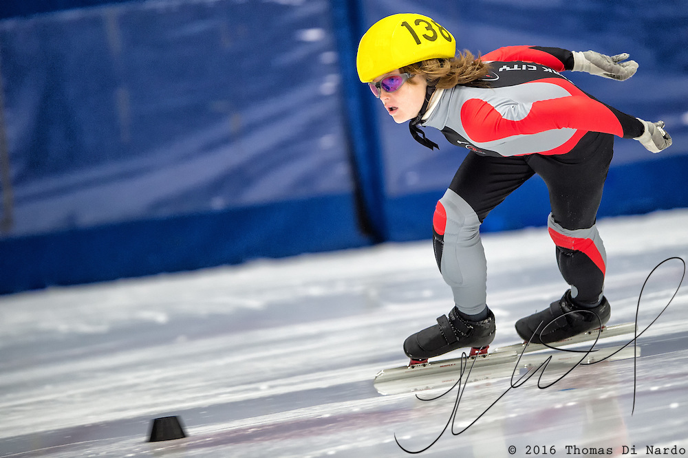 March 20, 2016 - Verona, WI - Dylan Woodbury, skater number 138 competes in US Speedskating Short Track Age Group Nationals and AmCup Final held at the Verona Ice Arena.