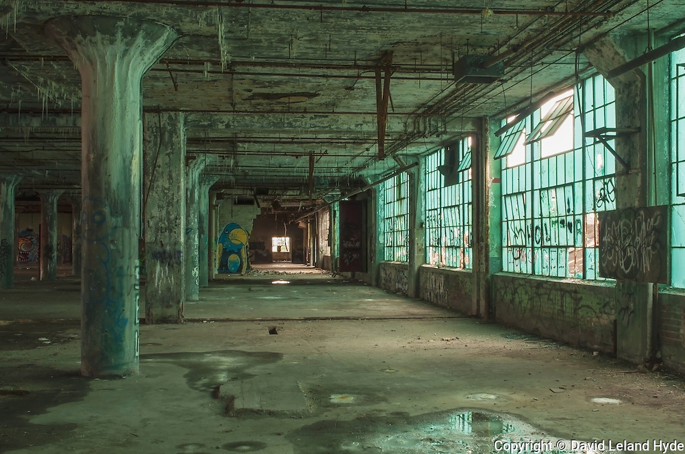 The Blue Floor, Automotive Factory, Fisher Body Plant 21, plate glass windows, Downtown Detroit, Urban Decay, plate glass windows, concrete pillars, graffiti art, Michigan, copyright 2015 David Leland Hyde.