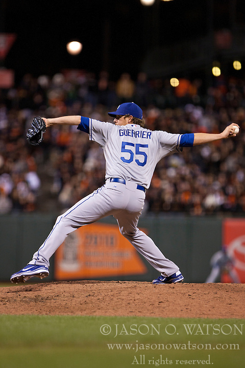 April 11, 2011; San Francisco, CA, USA;  Los Angeles Dodgers relief pitcher Matt Guerrier (55) pitches against the San Francisco Giants during the seventh inning at AT&T Park.  Los Angeles defeated San Francisco 6-1.