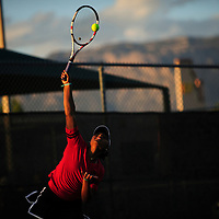 050814       Adron Gardner<br /> <br /> Number one ranked Grants Pirate Paris Corley plays number two ranked Albuquerque Academy Charger Dani Apodaca for the 4A girls state tennis championship at the Jerry Cline Tennis Complex in Albuquerque Thursday.  Corley went on to claim her first state tennis title.