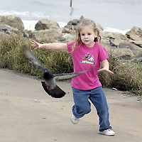 Anasty Guthrie, 5, of Texas City chases a pigeon on the seawall in Galveston, 01/09/05.   (Photo by Kim Christensen)