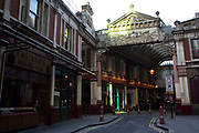 Rush hour at Leadenhall Market in the City of London financial district is virtually deserted due to the Coronavirus outbreak on 23rd March 2020 in London, England, United Kingdom. Following government advice city workers are staying at home to work leaving the streets quiet, empty and eerie. Coronavirus or Covid-19 is a new respiratory illness that has not previously been seen in humans. While much or Europe has been placed into lockdown, the UK government has announced more stringent rules as part of their long term strategy, and in particular social distancing.