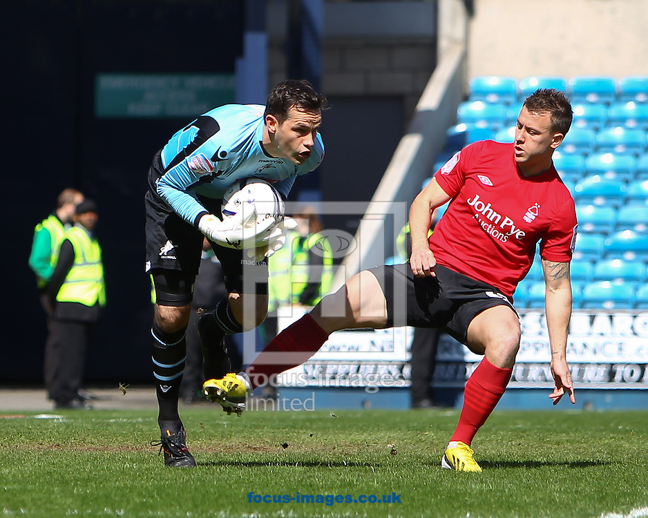 Picture by John Rainford/Focus Images Ltd +44 7506 538356.27/04/2013.David Forde of Millwall saves ahead of Simon Cox of Nottingham Forest during the npower Championship match at The Den, London.