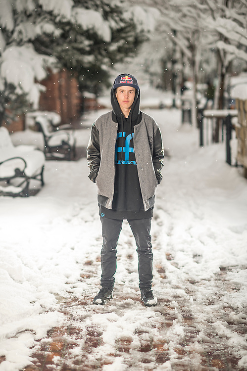 Jesper Tjaden poses for a portrait at the RedBull Performance Camp in Aspen Colorado, United States on April 14th, 2013