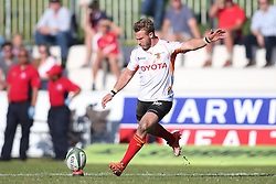 Fred Zelinga of the Free State Cheetahs kicks a penalty during the Currie Cup match between the Boland Cavaliers and The Free State Cheetahs held at Boland Stadium, Wellington, South Africa on the 6th August 2016<br /> <br /> Photo by:   Shaun Roy/ Real Time Images