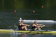 Lucerne. Switzerland. GBR LM2X, Bow Richard CHAMBERS and Peter CHAMBERS move away from the start in their  heat,  at the 2013 FISA WC. III. 10:30:04  Friday  12/07/2013  [Mandatory Credit, Peter Spurrier/ Intersport Images] Lake Rotsee,