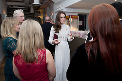 The Duchess of Cambridge, Patron of Action on Addiction, meets with stars, cast, crew and representatives of the charity at Working Titles Office in London to view highlights of the Recovery Street Film Festival.