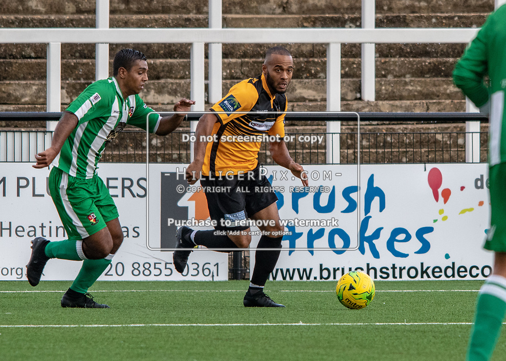 BROMLEY, UK - AUGUST 25: <br /> Jerome Frederico (Cray Wanderers) attacks the defence during the FA Cup Preliminary Round match between Cray Wanderers and Rusthall at Hayes Lane on August 25, 2018 in Bromley, UK. (Photo: Jon Hilliger / Cray Wanderers)