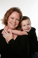 21 January 2010: Mother Amy and five year old son Tucker Ward during family photo session in studio.  Posed.