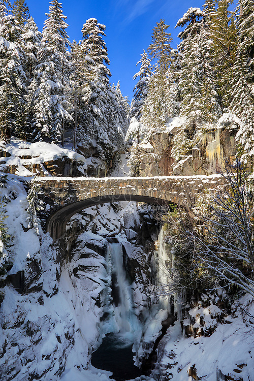 Bridge over Christine Falls in Mount Rainier National Park in winter