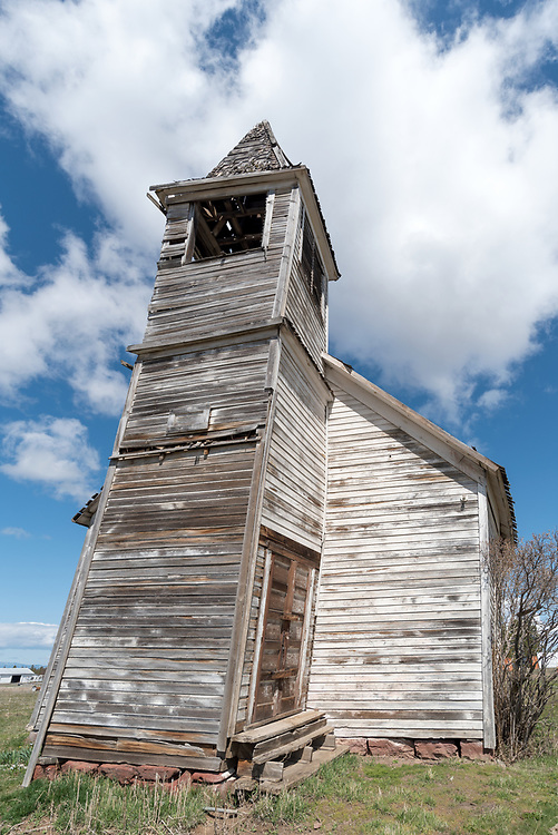 Old church in the ghost town of Flora, Oregon