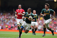 Juan De Jongh of South Africa runs in to score his try. Wales v South Africa,    at Millennium Stadium in Cardiff on Sat 5th June 2010. pic by Andrew Orchard,  Andrew Orchard sports photography,