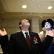 Newly married Joey Thibodeaux celebrates after his same sex wedding ceremony, just after midnight, when Florida's ban on same-sex marriage ended, at the Osceola County Courthouse in Kissimmee, Florida on Tuesday, January 6, 2014.  (AP Photo/Alex Menendez)