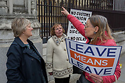 A day after Commons Speaker John Bercow announced his refusal to accept Prime Minster Theresa Mays third Brexit Meaningful Vote, Leave Means Leaves Brexiteers protest outside the gates of parliament, on 19th March 2019, in London, England.
