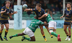 ¤Worcester Warriors Ryan Mills is tackled by Newcastle Falcons Sami Mavinga and Callum Chick during the Gallagher Premiership match at Sixways Stadium, Worcester.