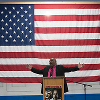 Pastor Frederick Davis from St. Paul Missionary Baptist Church in Gallup speaking at the Larry Brian Mitchell Recreation Center, Monday, Jan. 21 for the Martin Luther King Jr. celebration in Gallup.