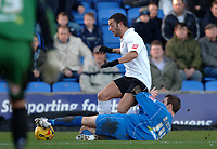 Photo: Paul Greenwood.<br />Macclesfield Town v Hereford United. Coca Cola League 2. 20/01/2007. Hereford's Staurt Fleetwood, left, is tackled by Macclesfield's Kevin McIntyre
