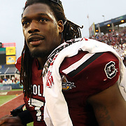 South Carolina Gamecocks defensive end Jadeveon Clowney (7) is seen after the NCAA Capital One Bowl football game between the South Carolina Gamecocks who represent the SEC and the Wisconsin Badgers who represent the Big 10 Conference, at the Florida Citrus Bowl on Wednesday, January 1, 2014 in Orlando, Florida. (AP Photo/Alex Menendez)