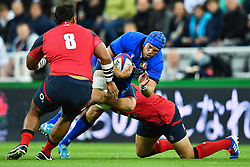Dean Budd of Italy is tackled by Joe Marler of England<br /> <br /> Photographer Craig Thomas/Replay Images<br /> <br /> Quilter International - England v Italy - Friday 6th September 2019 - St James' Park - Newcastle<br /> <br /> World Copyright © Replay Images . All rights reserved. info@replayimages.co.uk - http://replayimages.co.uk