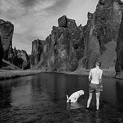 In the Fjaðrárgljúfur Canyon