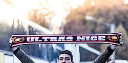 20.10.2016, Red Bull Arena, Salzburg, AUT, UEFA EL, FC Red Bull Salzburg vs OGC Nizza, Gruppe I, im Bild ein Nizza Fan mit einem Ultra Schal // A Nice fan with an ultra scarf during the UEFA Europa League group I match between FC Red Bull Salzburg and OGC Nizza at the Red Bull Arena in Salzburg, Austria on 2016/10/20. EXPA Pictures © 2016, PhotoCredit: EXPA/ JFK