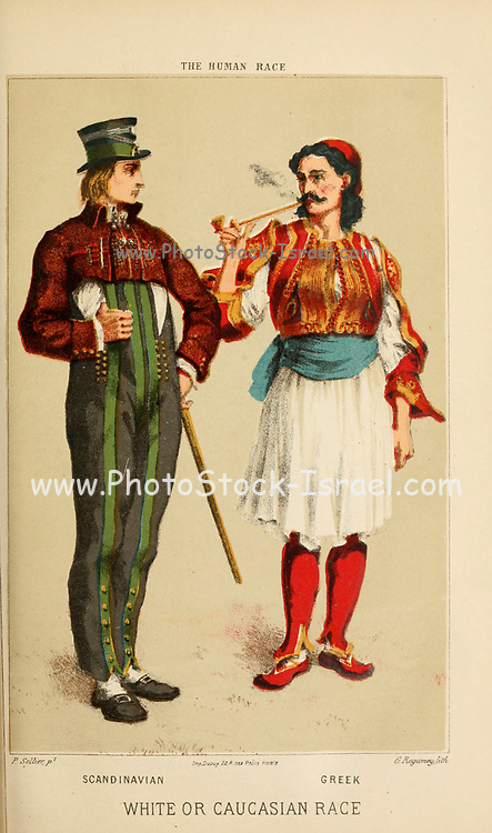 Scandinavian man (Left) and Greek Man (right) Hand painted engraving on wood From The human race by Figuier, Louis, (1819-1894) Publication in 1872 Publisher: New York, Appleton