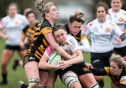 Ebony Jefferies of Exeter Chiefs is challenged  - Mandatory by-line: Arron Gent/JMP - 06/03/2021 - RUGBY - Twyford Avenue - Acton, England - Wasps FC Ladies v Exeter Chiefs Women - Allianz Premier 15s