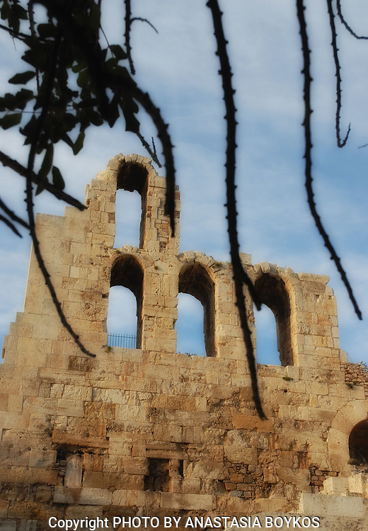 Odeon of Herodes Atticus.<br /> <br /> The Odeon of Herodes (or Herodium, as erroneously prevails) is the ancient Odeon of the Roman period , located on the southwest slope of the Acropolis of Athens .