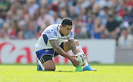 Samoa Tusi Pisi spots the ball upduring the Rugby World Cup 2015 match between Samoa and USA at the Brighton Community Stadium, Falmer, United Kingdom on 20 September 2015.