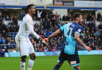 Wycombe Wanderers' Jamal Blackman is congratulated by with team-mate Max Muller after saving Blackpool's Brad Potts' penalty<br /> <br /> Photographer Kevin Barnes/CameraSport<br /> <br /> The EFL Sky Bet League Two - Wycombe Wanderers v Blackpool - Saturday 11th March 2017 - Adams Park - Wycombe<br /> <br /> World Copyright © 2017 CameraSport. All rights reserved. 43 Linden Ave. Countesthorpe. Leicester. England. LE8 5PG - Tel: +44 (0) 116 277 4147 - admin@camerasport.com - www.camerasport.com