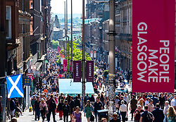 Busy pedestrian Buchanan Street in Glasgow City centre on a warm sunny afternoon, Glasgow, Scotland, UK
