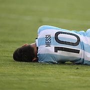 FOXBOROUGH, MASSACHUSETTS - JUNE 18: Lionel Messi #10 of Argentina in pain after a hard fall in the penalty area during the Argentina Vs Venezuela Quarterfinal match of the Copa America Centenario USA 2016 Tournament at Gillette Stadium on June 18, 2016 in Foxborough, Massachusetts. (Photo by Tim Clayton/Corbis via Getty Images)