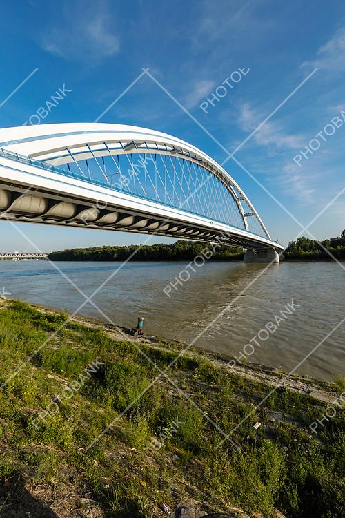 Apollo bridge on Danube river in Bratislava