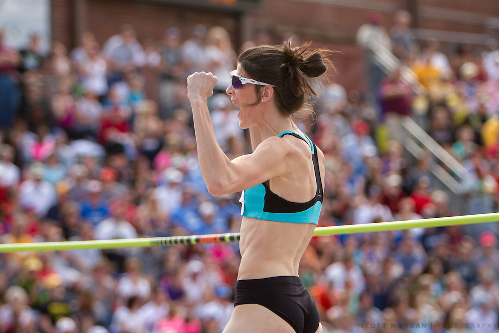 New Balance athlete Ruth Beitia celebrates after clearing 1.95 meters to win the high jump Saturday, April 27, 2013, during the Drake Relays in Des Moines..Photo by Scott Morgan 2013
