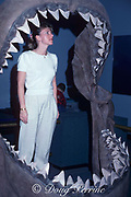 reconstructed jaws of extinct Carcharocles megalodon, giant extinct cousin of great white shark, Carcharodon carcharias (model released)
