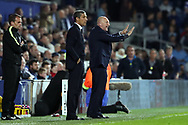 Brighton & Hove Albion manager Chris Hughton and Queens Park Rangers manager Ian Holloway during the EFL Sky Bet Championship match between Queens Park Rangers and Brighton and Hove Albion at the Loftus Road Stadium, London, England on 7 April 2017.